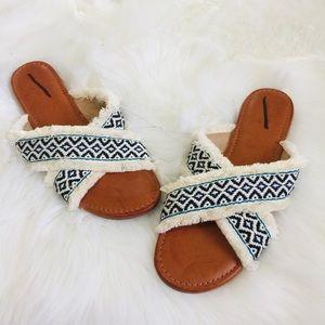NEW White Cream Navy Fringe Boho Open Toe Sandals
